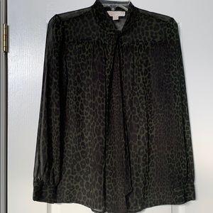Michael Kors L/S Leopard Print Blouse P/M